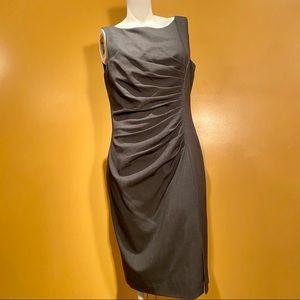 Calvin Klein grey midi dress, ruched waist. Sz 10.